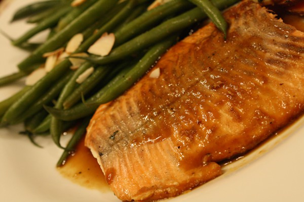 Salmon and Green Beans Plated